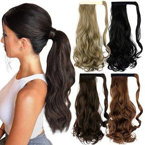 """18"""" Curly Wavy Wrap Around Ponytail Hair Extension"""